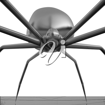 chrome spider.Close-up on a white background