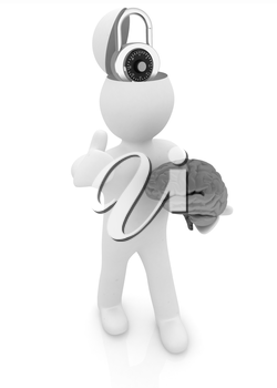 3d people - man with half head, brain and trumb up. The concept of protection with lock
