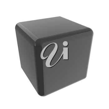 Icon, glossy red cube, abstract symbol