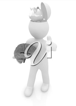3d people - man with half head, brain and trumb up. Saving concept with piggy bank