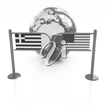 Three-dimensional image of the turnstile and flags of USA and Greece on a white background