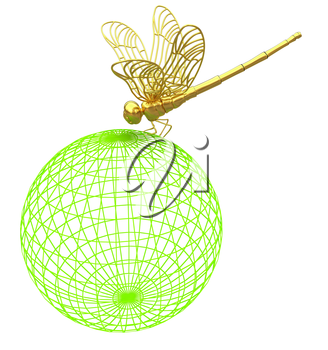 Dragonfly on abstract design sphere