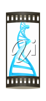 DNA structure model on white. The film strip