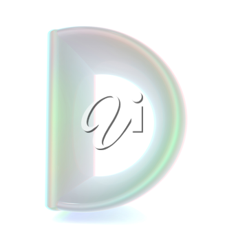 Glossy alphabet. The letter D. 3D illustration. Anaglyph. View with red/cyan glasses to see in 3D.