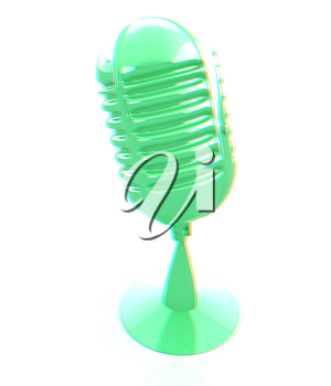 3d rendering of a microphone. 3D illustration. Anaglyph. View with red/cyan glasses to see in 3D.