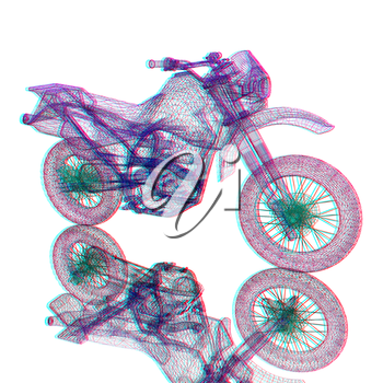 3d sport motocross bike. 3D illustration. Anaglyph. View with red/cyan glasses to see in 3D.