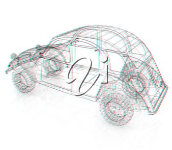 3d model retro car. 3D illustration. Anaglyph. View with red/cyan glasses to see in 3D.