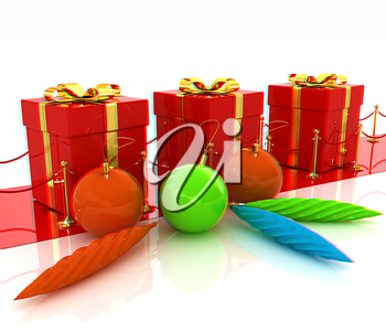 Beautiful Christmas gifts. 3D illustration. Anaglyph. View with red/cyan glasses to see in 3D.