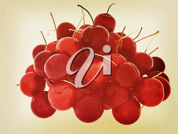 Sweet cherry on a white background. 3D illustration. Vintage style.