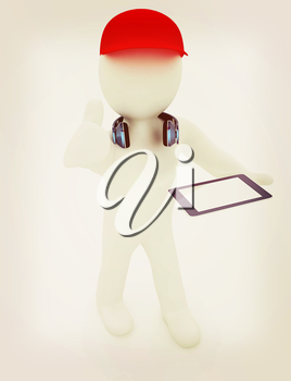 3d white man in a red peaked cap with thumb up, tablet pc and headphones on a white background. 3D illustration. Vintage style.