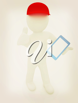 3d white man in a red peaked cap with thumb up and tablet pc on a white background. 3D illustration. Vintage style.