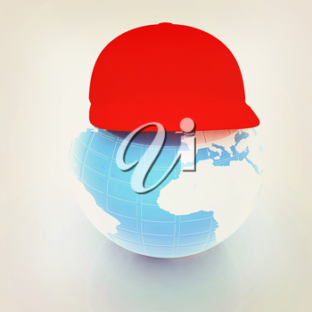 Earth in a red peaked cap. 3d icon. Concept: Summer Holidays and travel on a white background. 3D illustration. Vintage style.