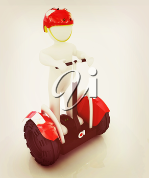 3d white person riding on a personal and ecological transport.3d image. . 3D illustration. Vintage style.
