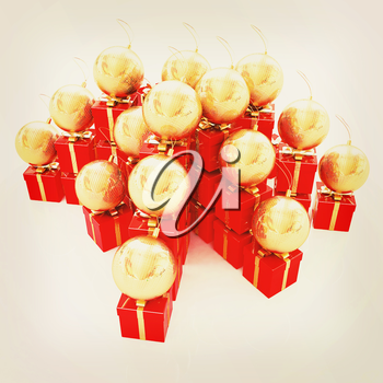 Bright christmas gifts and toys on a white background . 3D illustration. Vintage style.
