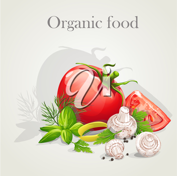 Royalty Free Clipart Image of an Organic Food Background