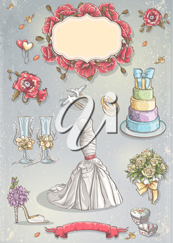 Royalty Free Clipart Image of a Wedding Collection Background