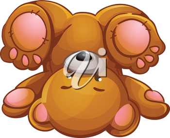 Royalty Free Clipart Image of a Teddy Bear Upside Down