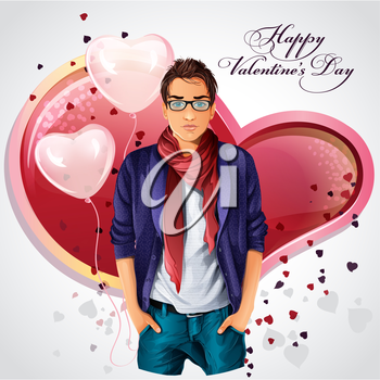 Royalty Free Clipart Image of a Boy on a Valentine Background