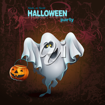 Royalty Free Clipart Image of a Halloween Party Invitation With a Ghost