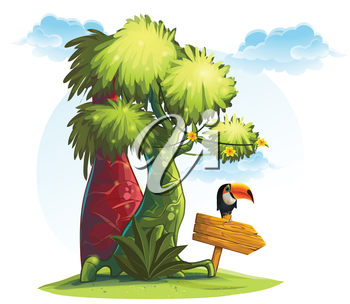 Royalty Free Clipart Image of Jungle Trees With a Bird on a Sign