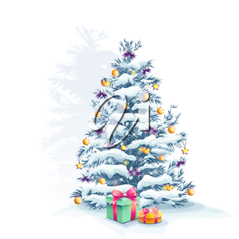 Royalty Free Photo of a Snow-Covered Christmas Tree With Presents