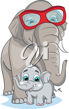 Royalty Free Clipart Image of a Father and Baby Elephant