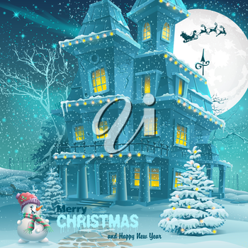 Christmas and New Year greeting card with the image of a snowy night with a snowman and Christmas trees