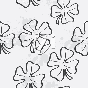 Seamless texture with clover leaf for St. Patrick's Day. black contour