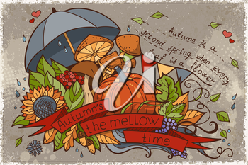 Illustration to the autumn season of doodles and inscriptions painted by hand