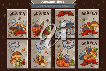 Big set of cards from the vertical colored doodles on the theme of autumn