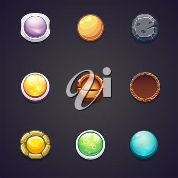 A set of round buttons of different materials for the web design and computer games