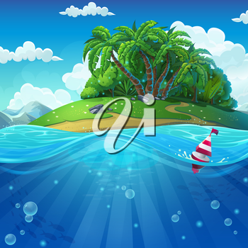 Undersea world with island. Marine life landscape - the ocean and the underwater world with different inhabitants. For design websites and mobile phones, printing.
