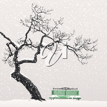 Lonely tree without leaves head over the snow-covered green bench