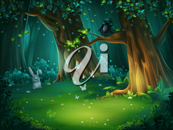 Vector cartoon illustration of background forest glade. Bright wood with hare, butterflies and crow in glasses. For design game, websites and mobile phones, printing.