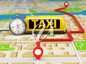 Taxi sign on the city map with stopwatch and route. Concept of taxi online service. 3d illustration