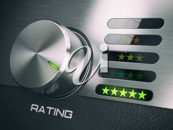 Five stars level of quality service, satisfaction, customer loyalty concept. Knob in highets position with five stars. 3d illustration