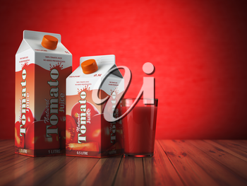 Tomate juice carton cardboard box pack with glass on red background. 3d illustartion