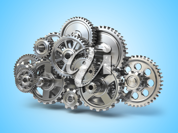 Engine gears in form of cloud. Cloud computing and networkin concept. 3d illustration