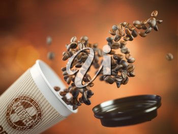 Coffee take away paper cup with coffee beans on a brown background. 3d illustration