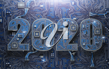 2020 on circuit board or motherboard with cpu. Computer technology and internet commucations digital concept background. Happy new 2020 year. 3d illustration