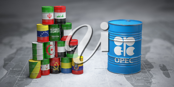 OPEC. Oil barrels in color of flags of countries memebers of OPEC on world political map background. 3d illustration