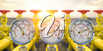 Gas pression gauge meters on gas pipeline. Gas extraction, production, delivery and supply concept. 3d illustration
