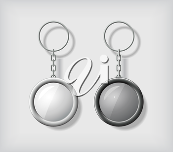 Two key chain pendants mockup, in black and white