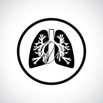 Lungs icon. Flat modern design in a circle.