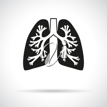 Lungs, round icon. Flat modern design with shadow.