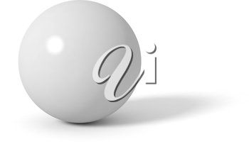 Grey glossy sphere with long shadow. 3D vector illustration.
