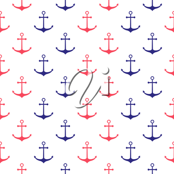 Seamless nautical pattern with anchors. Design element for wallpapers, baby shower invitation, birthday card, scrapbooking, fabric print etc.