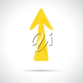 Yellow arrow pointing up. Hand drawn with oil pastel crayon. Abstract design element isolated on white background.