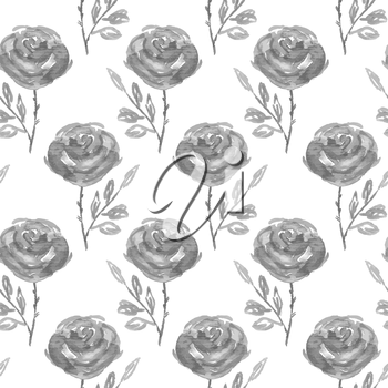 Seamless floral pattern. Hand painted rose flowers.  Graphic element for baby shower or wedding invitations, birthday card, printables, wallpaper, scrapbooking. Vector illustration.