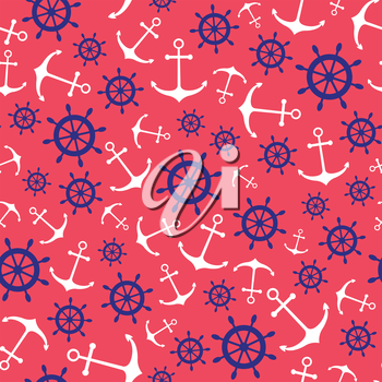 Seamless nautical pattern with anchors. Design element for wallpapers, baby shower invitation, birthday card, scrap booking, fabric print etc.